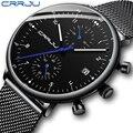 Мужские часы CRRJU класса люкс  Топ бренд  мужские наручные часы из нержавеющей стали  мужские военные водонепроницаемые кварцевые часы с дато...