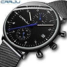 Mens Watch CRRJU Luxury Top Brand Men Stainless Steel WristWatch Mens Military waterproof Date Quartz watches relogio masculino