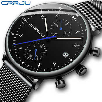 Mens Watch CRRJU Luxury Top Brand Men Stainless Steel WristWatch Men's Military waterproof Date Quartz watches relogio masculino - DISCOUNT ITEM  63% OFF All Category