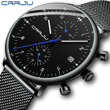 メンズ腕時計crrju高級トップブランド男性ステンレス鋼腕時計メンズミリタリー防水日付クォーツ時計レロジオmasculino