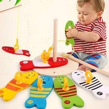 8 unidades / conjunto de pesca de madeira colorida brinquedos digitais bebê crianças peixes conjunto de blocos de coluna