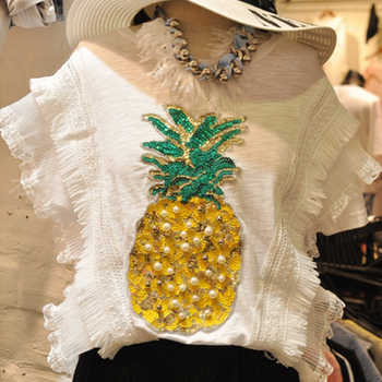 summer pineapple beaded sequins short-sleeved T-shirt women's fashion casual Korean T-shirt loose cotton wild Tees large size - DISCOUNT ITEM  40% OFF All Category