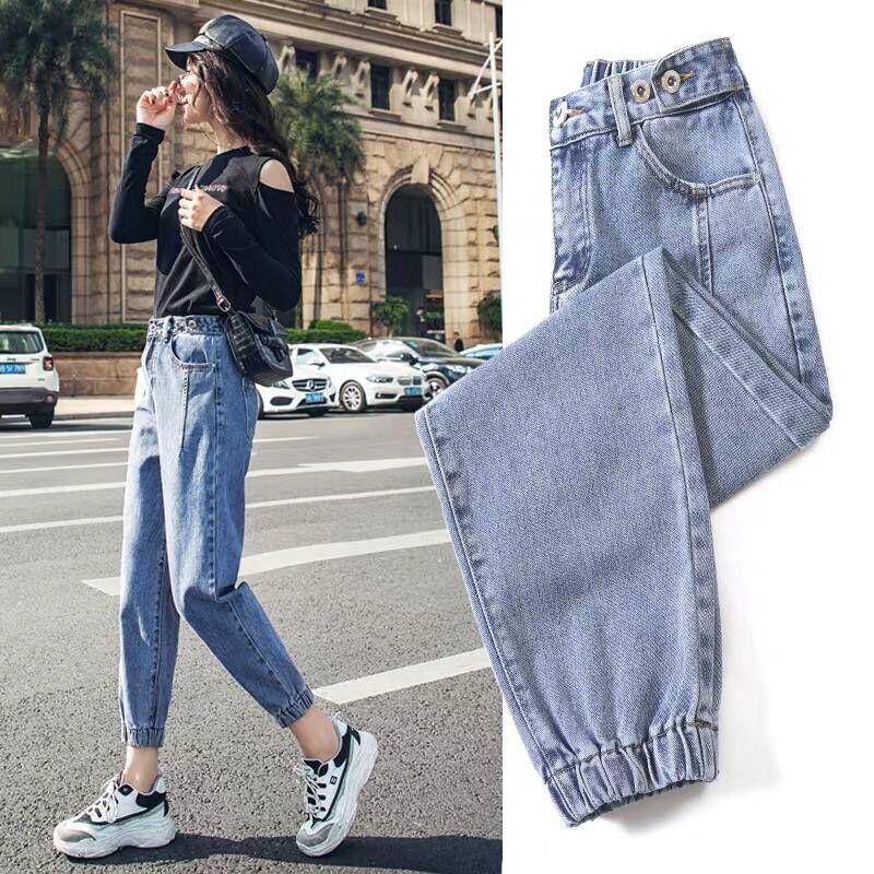 Women's Jeans High Waist Large Size Denim Trousers Boyfriend Jeans Women's Washed Cotton Jeans Ladies Denim