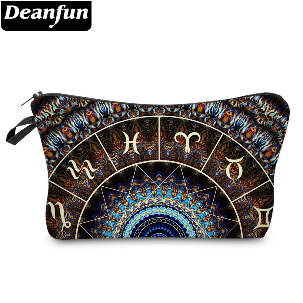 Deanfun Polyester Brown Constellation Printing Cosmetic Bag Stylish Waterproof Makeup Bag Pouch Makeup Bag 51405