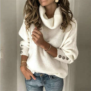 Pullover Tops Knitted-Wear Womens Sweater Jumper Ladies Winter Casual Plus-Size/by Solid
