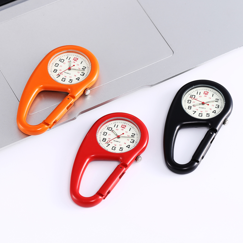 H74460732469847ed9b2a166eb04a3ef5T - Outdoor Round Dial Arabic Numbers Quartz Analog Clip Carabiner Hook Watch pocket watch Strong luminous FOB watch
