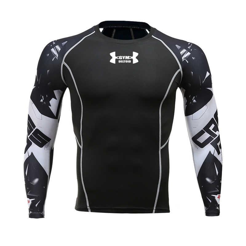 3D Cepat Kering Penjaga Ruam Berjalan Kemeja Pria Lengan Panjang Kompresi Kemeja Gym T Shirt Fitness Top Olahraga Kemeja Pria Sepak Bola jersey