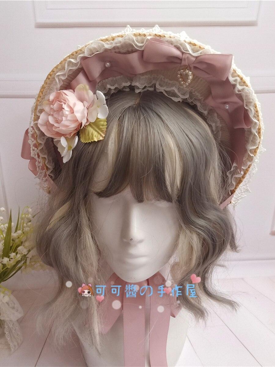 Elegant Gorgeous Princess Sweet Lolita Retro Lace Bonnet Flat Hat Tea Party Straw Hat Women's Victorian Half Bnt Handmade Sunhat