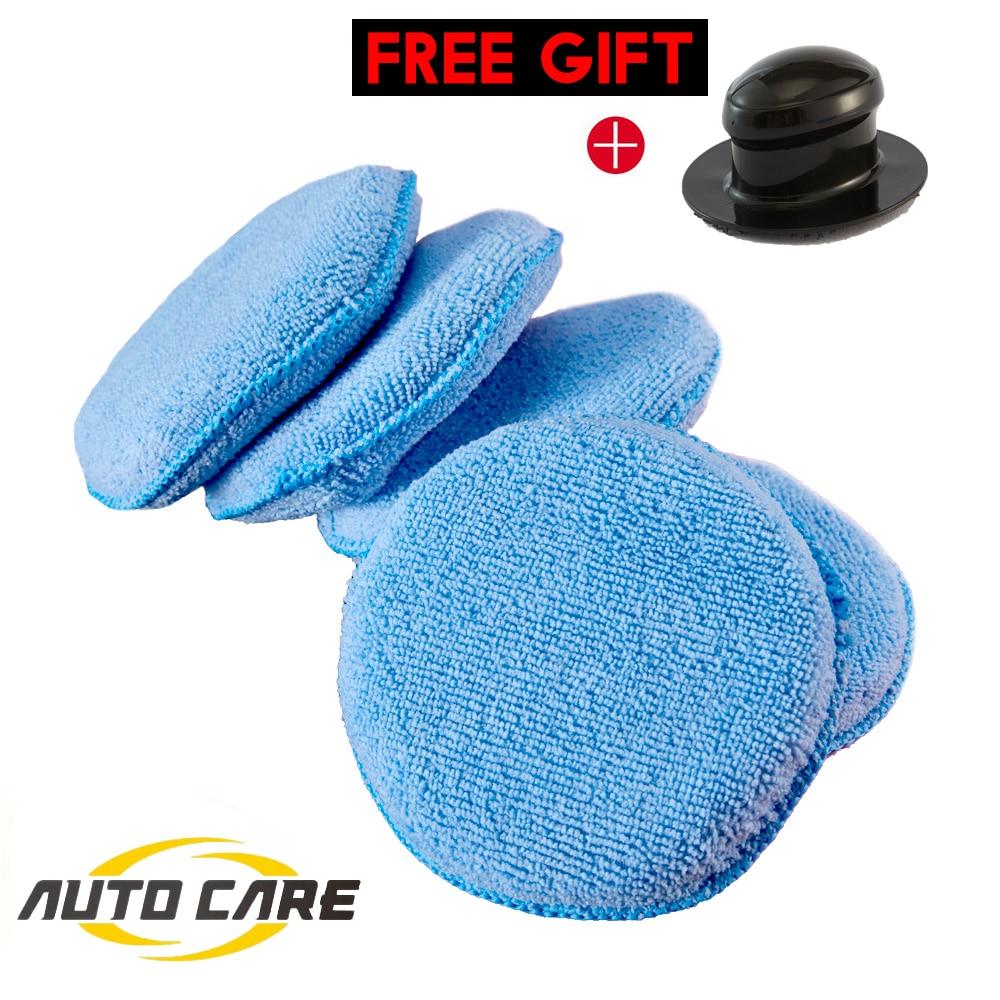 5pcs Soft Microfiber Car Wax Applicator Pad Polishing Sponge For Apply And Remove Wax Buffing Tool Auto Care Buffer