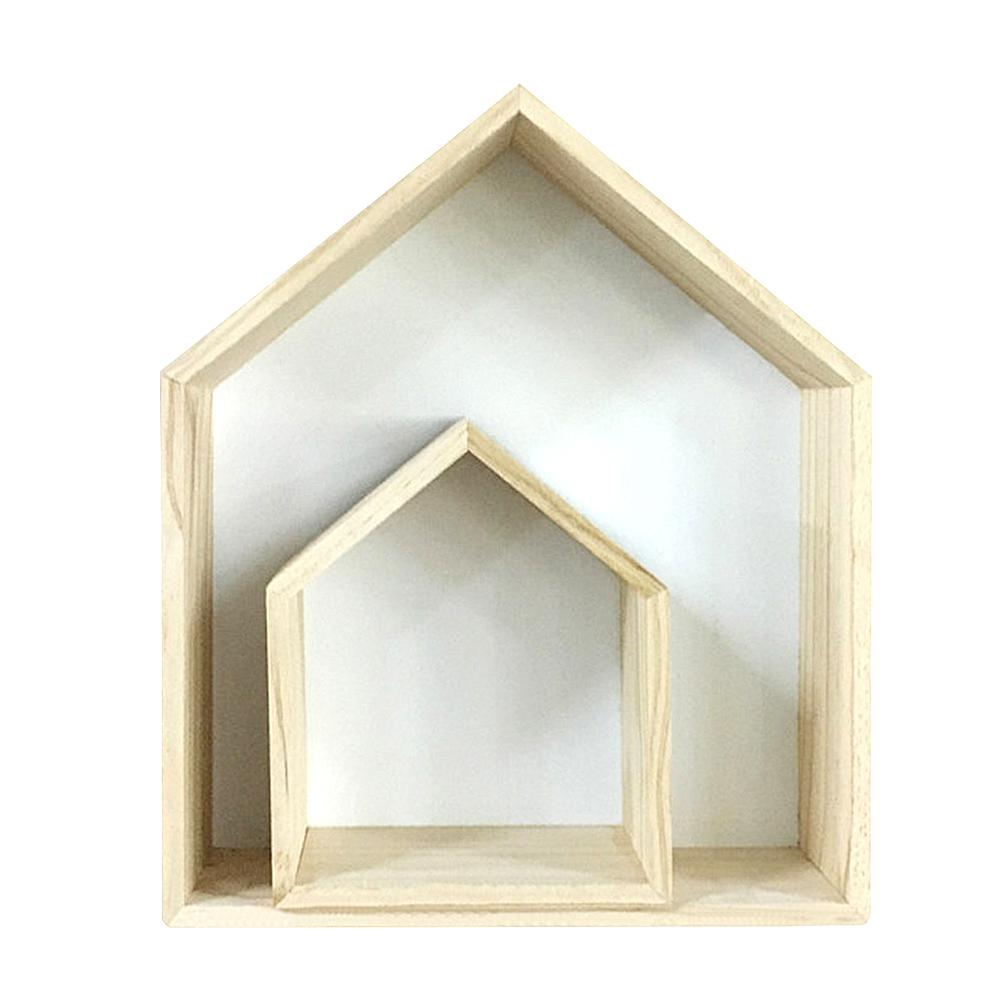 Children's Room Customized House Shape Wooden Shadow Cubby Box Storage Natural Nordic Shelves Large & Small Rack For A Set