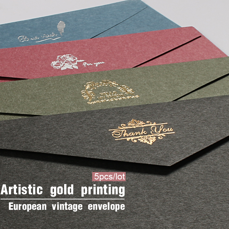 5pcs/lot Vintage Gold Envelopes For Invitations Kraft Paper Gift Card Window Envelope Wedding Letter Set Mailer Stationery
