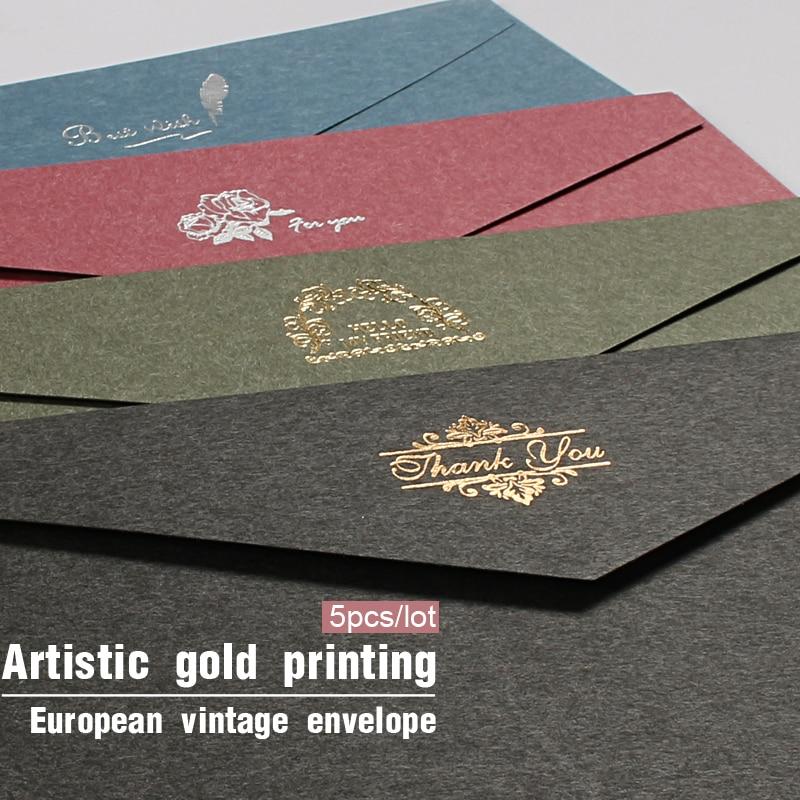 5pcs/lot Vintage Gold Envelopes For Invitations Kraft Paper Gift Card Window Envelope Wedding Letter Set Mailer Stationery