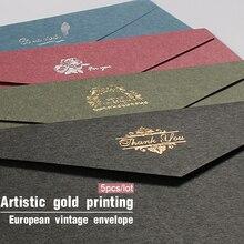 5 unids/lote de sobres dorados Vintage para invitaciones, tarjeta de papel de regalo Kraft, sobre de ventana, juego de cartas de boda, papelería de correo
