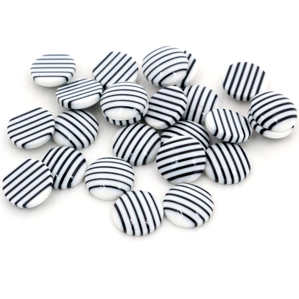New Fashion 40pcs 12mm White Black Colors Stripe Style Flat Back Resin Cabochons Fit 12mm Cameo Base Cabochons-W3-33