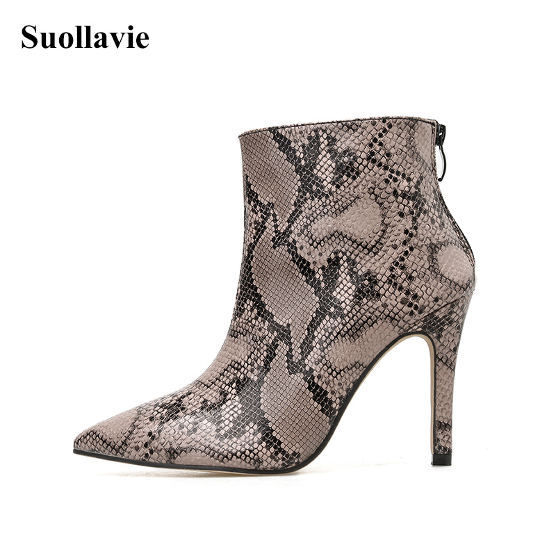 Fashion Snake Print Women Boots Thin Heels Ankle Boots 2019 Autumn Winter Zipper Sexy Ladies Shoes Chelsea Boots