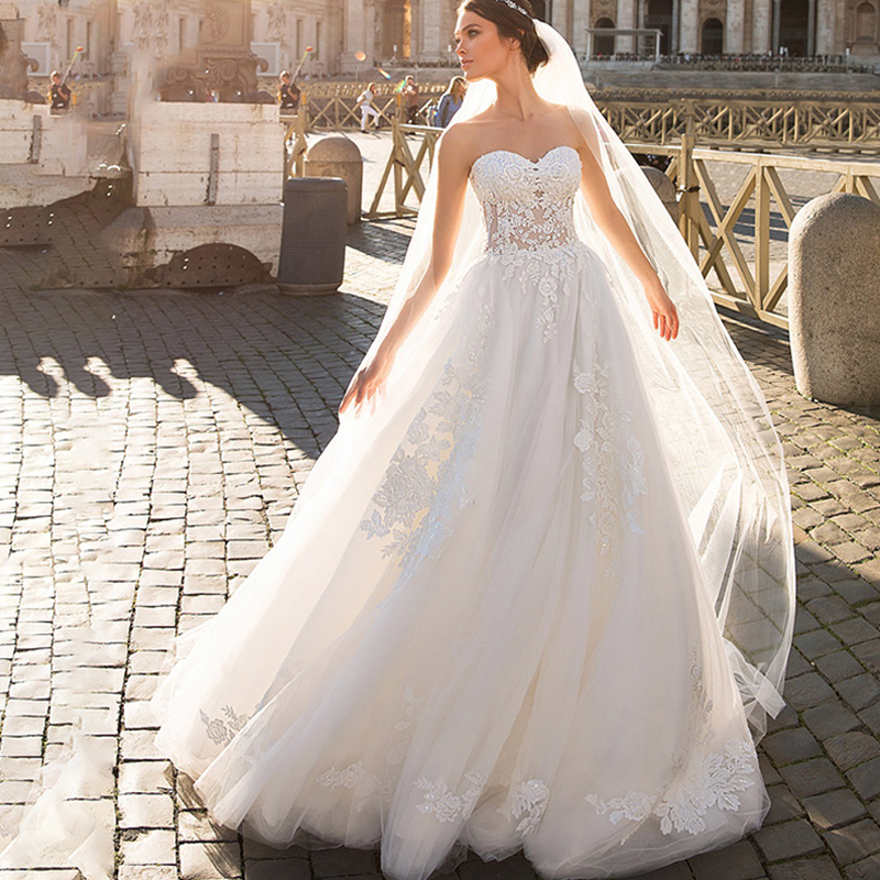 Eightree Strapless Wedding Dress Lace Appliques Beading Bride Dresses Tulle A-Line Boho Princess Wedding Gown Vestido De Novia