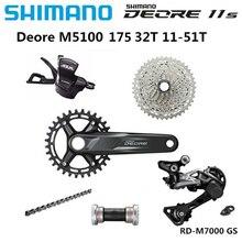 Shimano deore m5100 slx m7000 1x11s velocidade groupset shifter alavanca com bb52 46t/42t/51t cassete desviador traseiro hg601