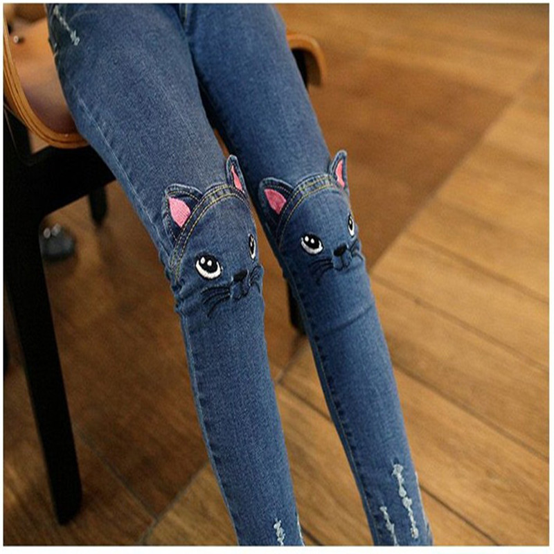 2020 Fashion Girl Jeans Cartoon Cat Jeans Print Blue Skinny Jeans Hole Pants Classic Chic Pants 3-11Y