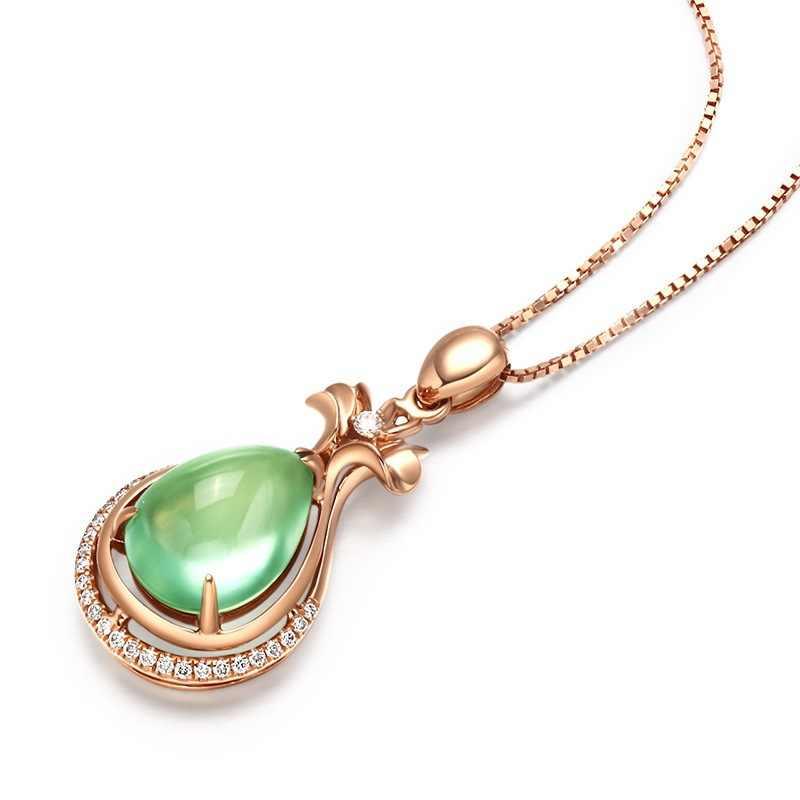 Celicity prehnite pingente colar para mulher gota de água em forma de prata 925 jóias finas com pedras preciosas rosa ouro cor festa