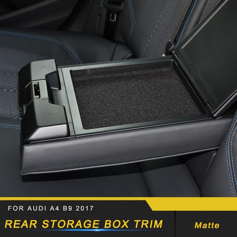 Otomobiller ve Motosikletler'ten Otomotiv İçi Çıkartmaları'de Audi için A4 A5 S4 S5 B9 2017 2018 oto araba arka kol dayama saklama kutusu Trim krom çerçeve Sticker krom İç aksesuar title=