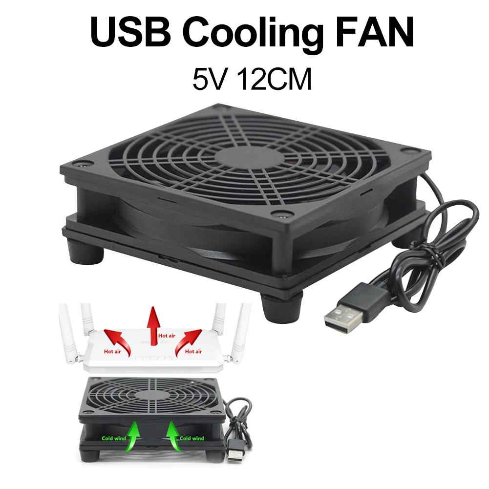 12Cm 5V USB Power Supply TV Set-Top Box Router Radiator Air Cooler Kipas Pendingin USB Router cooler Fan Кулер Router Aksesoris