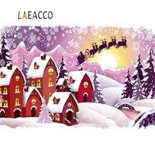 Laeacco Baby Cartoon Winter Christmas House Sledge Santa Clause Snowflake Polka Dot Backdrops Backgrounds Photocall Photo Studio