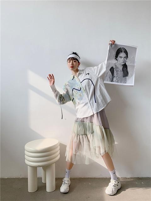 CHEERART Autumn Aesthetic Shirt Long Sleeve Top Women Blouse Cotton Print Button Up Collar Designer Shirt Fashion 2020 3