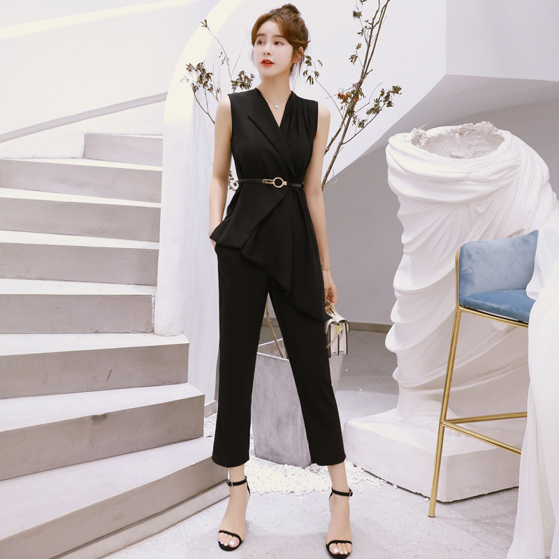 Fashion Women Elegant Comfortable New Arrival Temperament Sexy Asymmetrical Shirt And Slim Pant High Quality 2 Pieces Women Set