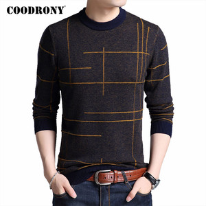 COODRONY Brand Sweater Men Spring Autumn O-Neck Pull Homme Cotton Wool Pullover Men Striped Knitwear Mens Sweaters Shirts C1048