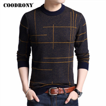 COODRONY Brand Sweater Men Spring Autumn O-Neck Pull Homme Cotton Wool Pullover Men Striped Knitwear Mens Sweaters Shirts C1048 coodrony brand wool sweater men streetwear fashion striped pull homme spring autumn casual knitwear v neck pullover shirts c1089