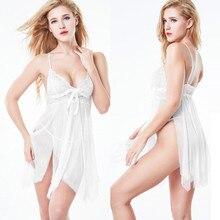 Сексуальная кружевная женская ночная рубашка пижамы летнее нижнее белье для девушек Ночное эротическое нижнее белье халат женская ночная рубашка L58