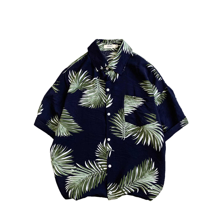 Bonjean Летняя мода досуг Гавайский цветок Праздничная юбка Мужская рубашка с коротким рукавом свободный лонгслив для пары мужские s платья рубашки