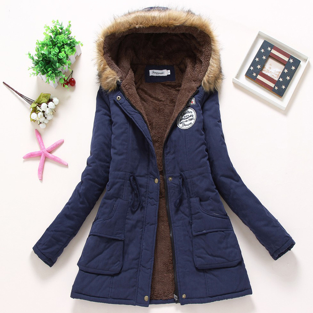 Ailegogo Women Winter Military Coats Cotton Wadded Hooded Jacket Casual Parka Thickness Warm XXXL Size Quilt Snow Outwear 3