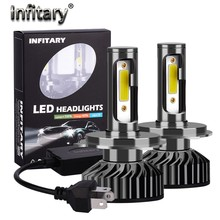Infitary H7 H4 Mobil LED Headlight Lampu H1 H11 H3 H27 880 9005 9006 9007 72W 10000LM 6500K 12V Auto Mini Headlamp COB Lampu Kabut(China)