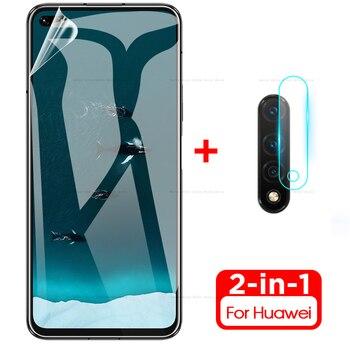 Перейти на Алиэкспресс и купить 2в1 мягкая Гидрогелевая пленка + стекло для камеры для Huawei Nova 5 T 6, Защита экрана для Nova 5 T 5 T Nova5t nova6 2019, пленка для объектива камеры