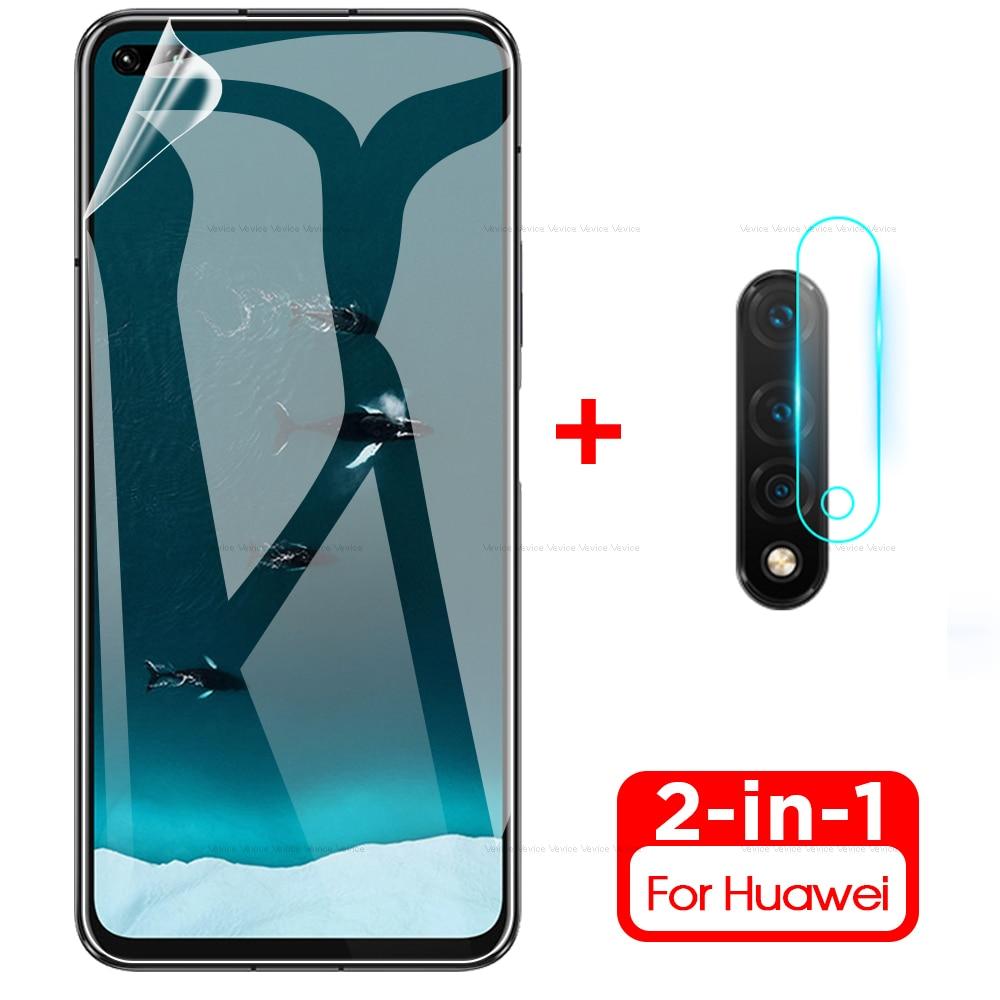 2in1 Soft Hydrogel Film + Camera Glass For Huawei Nova 5T 6 Screen Protector For Nova 5T 5 T Nova5t Nova6 2019 Camera Lens Film