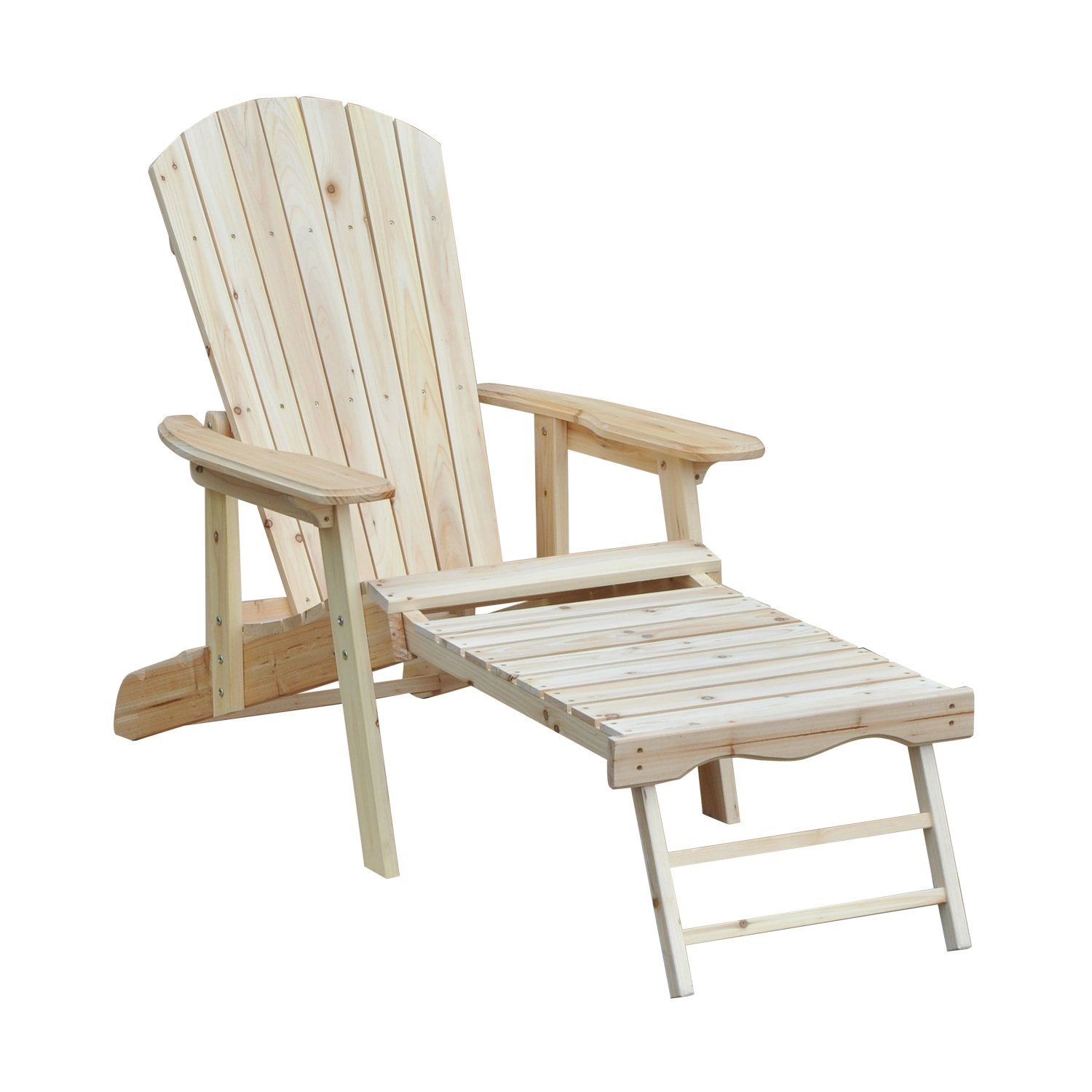 Outsunny Deck Chair Lounger Garden Wooden Adirondack Folding Adjustable With Footrest 175x70x80 Cm