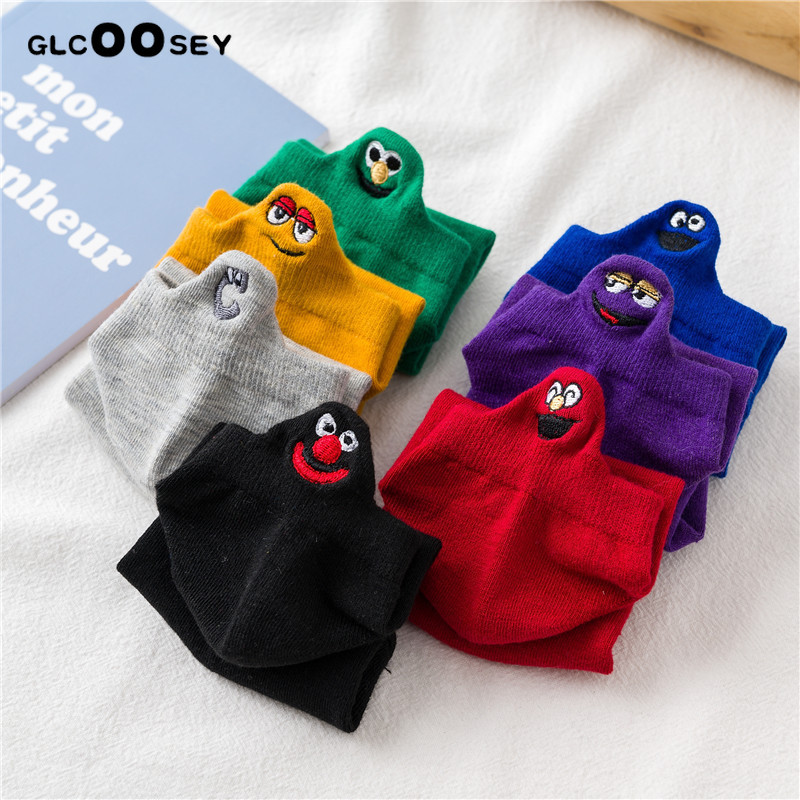 10 Pairs/Pack Kawaii Embroidered Expression Women   Socks   Happy Fashion Ankle Funny   Socks   Women Cotton Summer Candy Color