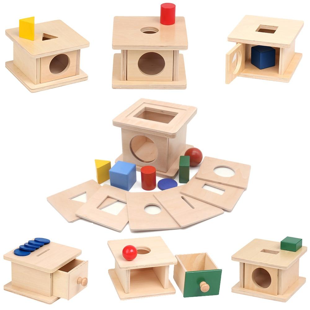 Geometric Shape Matching Box Object Montessori Educational Wooden Toys Sensory Toys For Children Juguetes Montessori I1145H