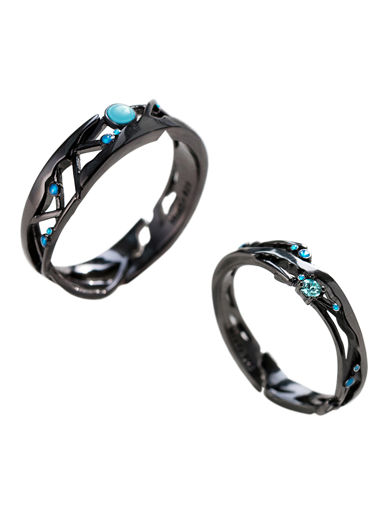 Thaya 925-Silver Jewelry Black Rings Retro Vintage Women Lover Cubic-Zirconia-Rings Blue
