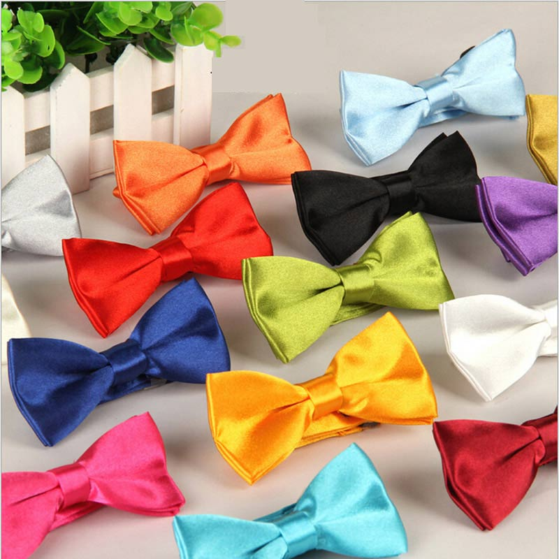 Hot Children's Polyester Silk Bow Ties Adjustable Boy Girl Student Baby Bowtie Solid Butterflies Vintage Tuxedo For Party Gift