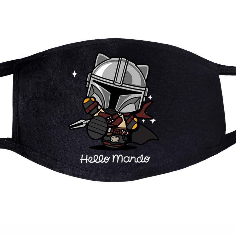 Kawaii The Mandalorian Dustproof Mouth Mask Face Unisex This Is The Way Baby Yoda Reusable Fabric Anti Black Washable Masks