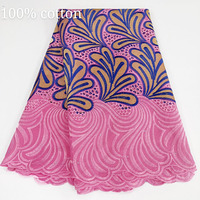 2020 Newest swiss voile lace fabric African 100% cotton laces fabrics Punch Lace Fabric 5 yards Pink for women dress