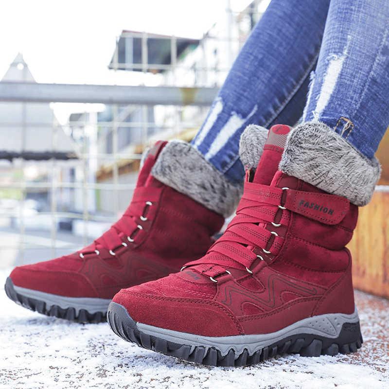 Kış çizmeler bayanlar Lace Up kar botları ayakkabı moda süet deri yün kürk astarlı kadın rahat kısa ayak bileği