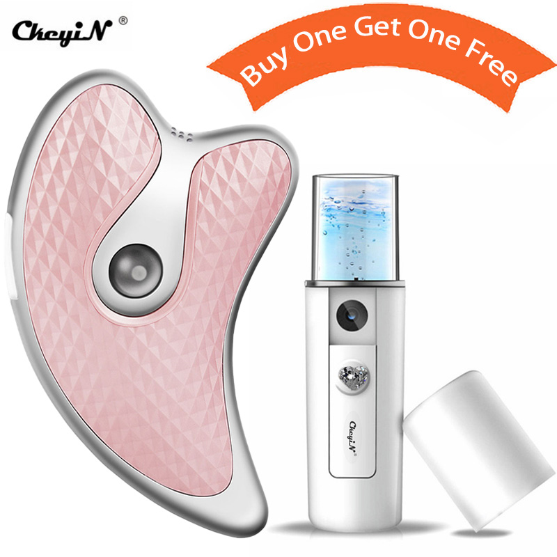 Microcurrent Facial Massager Scraping Board V Face Lifting Firming Beauty Guasha Plate+Water Hydrating Moisturizing Sprayer