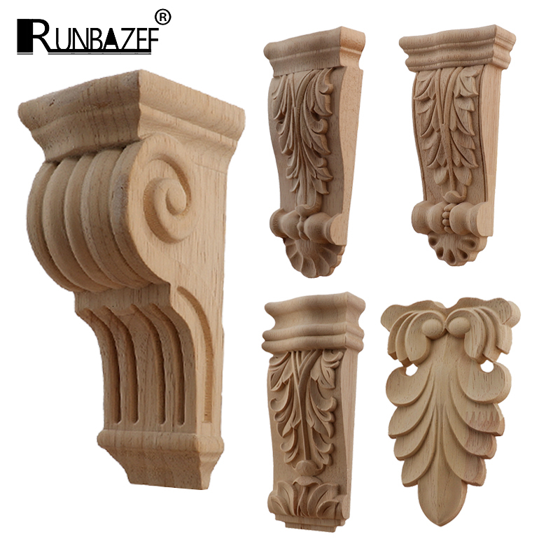 Retro Vintage Wood Carved Onlay Applique Carpenter Frame Decal Furniture Decoration Wooden Craft Decorative Gate Flower Ornament