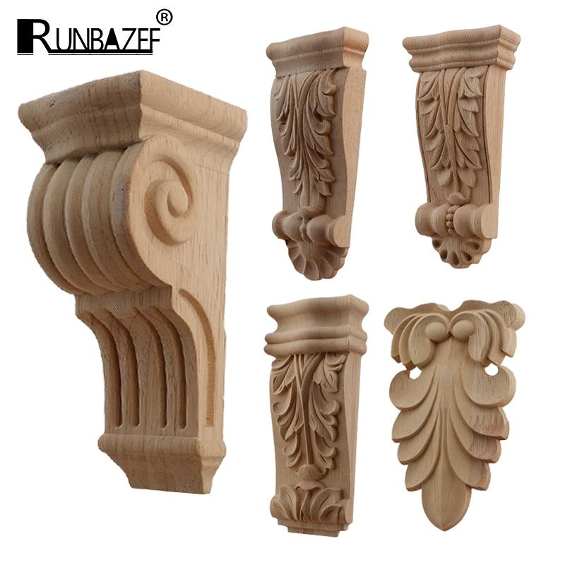 Retro Vintage Wood Carved Onlay Applique Carpenter Frame Decal Furniture Decoration Wooden Craft Decorative Gate Flower Ornament