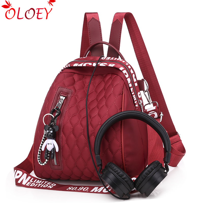 Luxury Brand Bags For Women 2019 New Fashion Oxford Cloth Zipper Ladies Backpack High Quality School Bag Gift Bear Pendant Hot