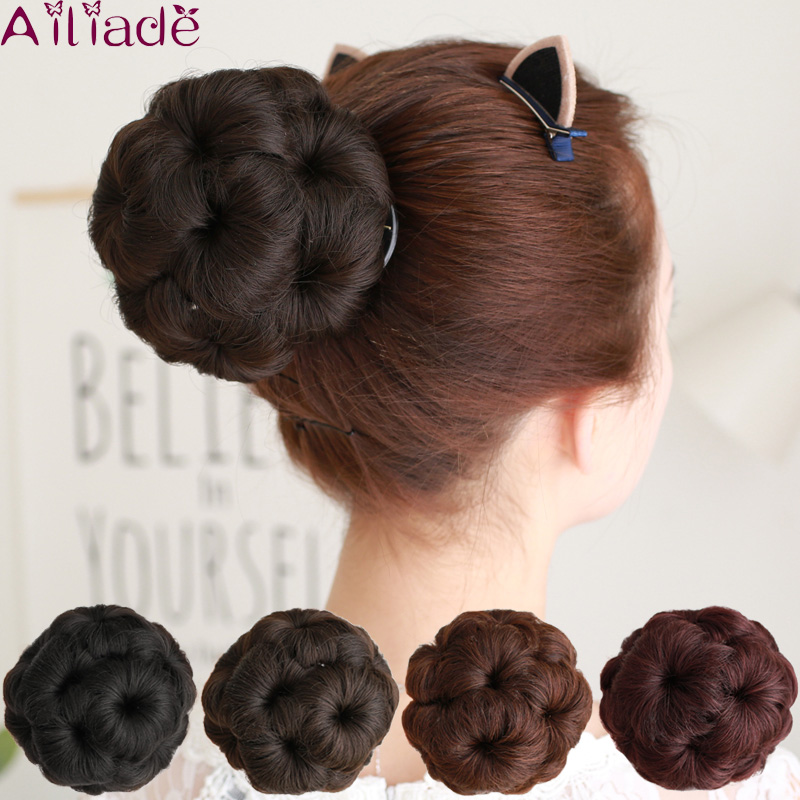 AILIADE Synthetic Curly Chignon Hairpiece For Women 9 Flowers Roller Clip In Fake High-Temperature Fiber Claw Clamp Bun