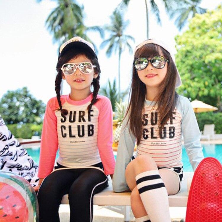 Haiyishan New Style Kid's Swimwear Middle And Large Girls Sports Split Type Sun-resistant Long Sleeve Trousers Girl's Girls Swim